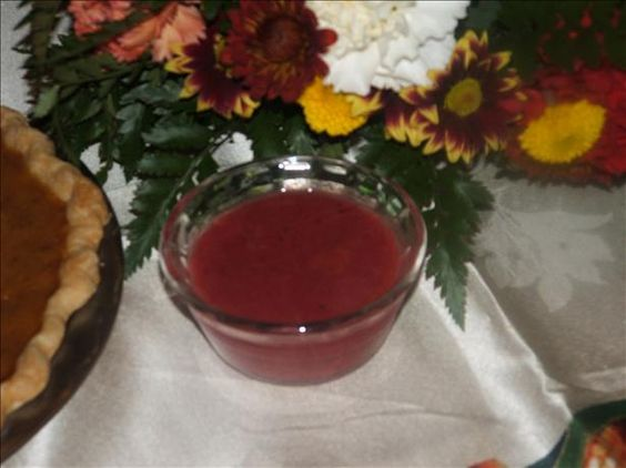 Alton Brown s Cranberry Dipping Sauce from Food.com: Oh my goodness...this cranberry dipping sauce is PERFECT for the Thanksgiving turkey and dressing!  Tangy and sweet...yum! #ultimatethanksgiving
