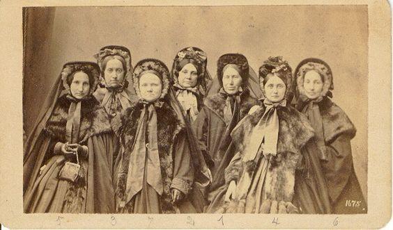 Iowa 1863-65. Bonnets, veils, wraps, furs. Elizabeth Stewart Clark, The Sewing Academy.