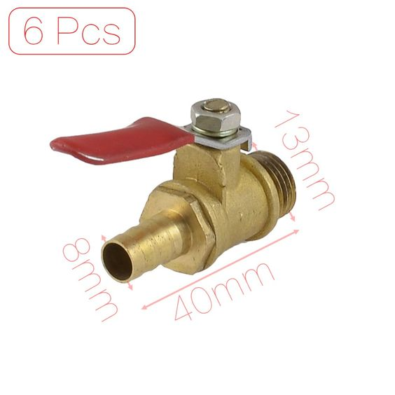 """$3.49 (Buy here: http://appdeal.ru/7m1o ) 1/4"""" PT Male Thread to 8mm Hose Barb Red Lever Gas Fuel Brass Ball Valve Discount 50 Ball for just $3.49"""