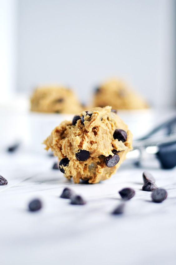 Scooped Edible Chocolate Chip Cookie Dough to eat, recipe on Ambs Loves Food from Do, Cookie Dough Confections.