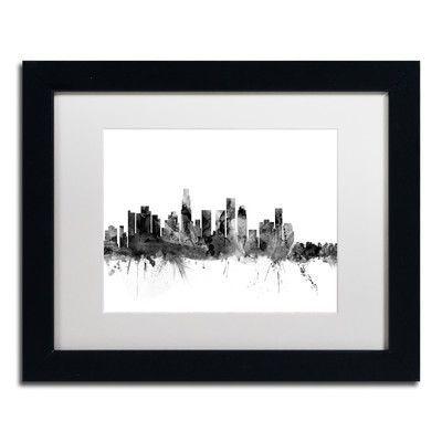 "Trademark Art ""Los Angeles CA Skyline B&W"" by Michael Tompsett Framed Graphic Art Size: 1"