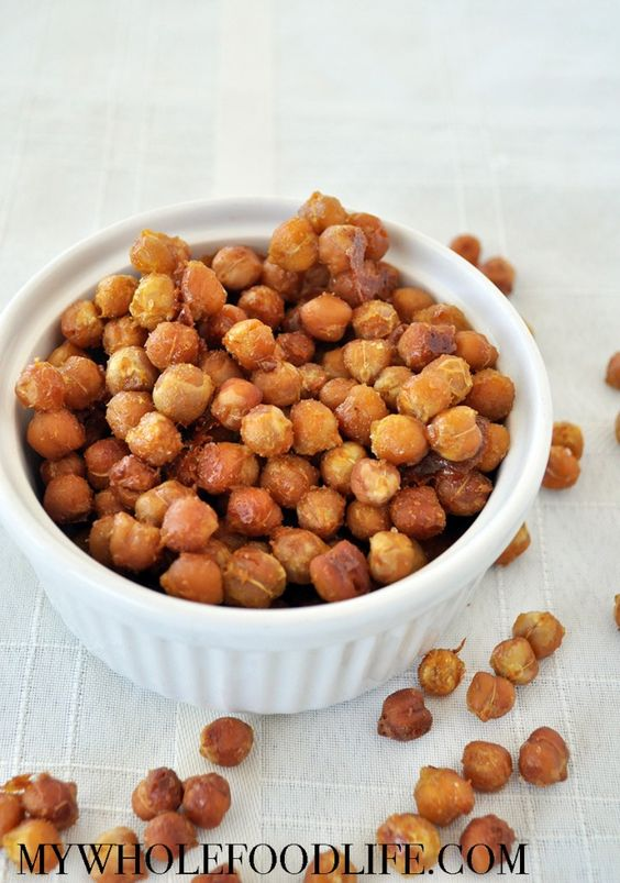 Put those chips down and try these honey mustard roasted chickpeas instead. Only 4 ingredients and they make the perfect snack!  Vegan and gluten free.: