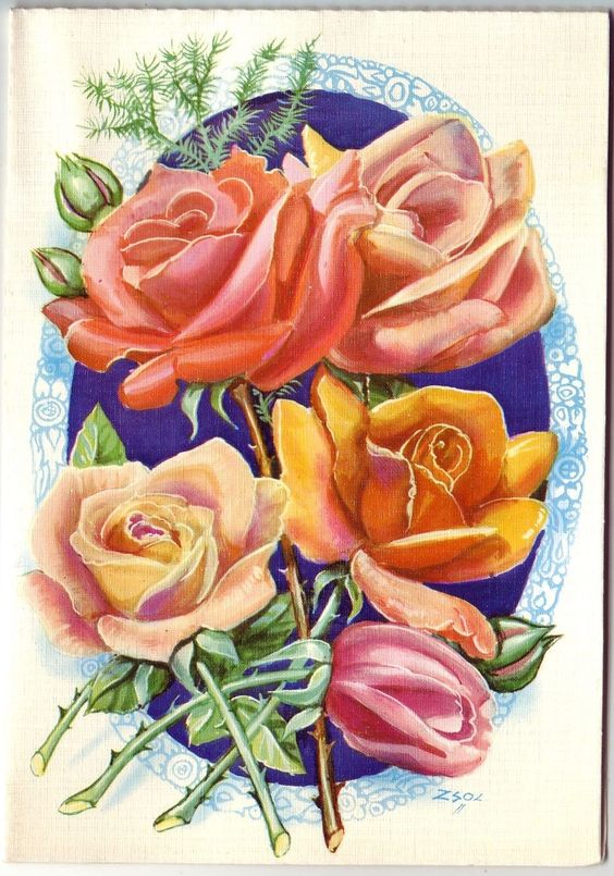 Vintage beautiful pop up 3D greeting card, with roses and birds.   eBay