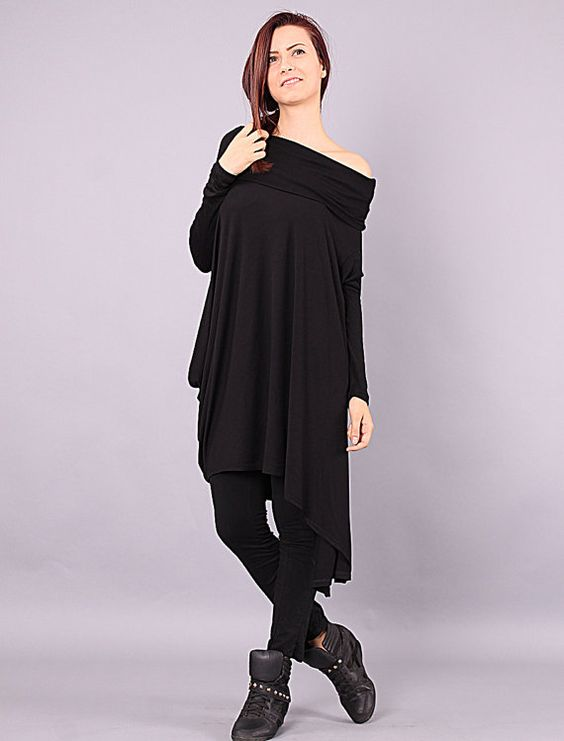 NENA 2 Asymmetrical plus size oversized black by Comfortissimo