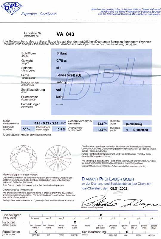 Foto 9, Diamant, Top-Gutachten DPL! 0,79ct Top Wesselton Juwel!, D5313