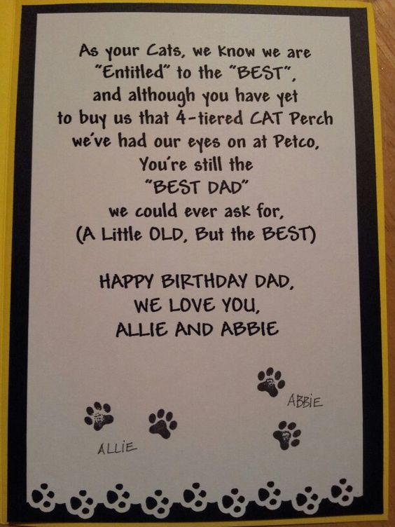 Inside of card from cats to dad, 2013