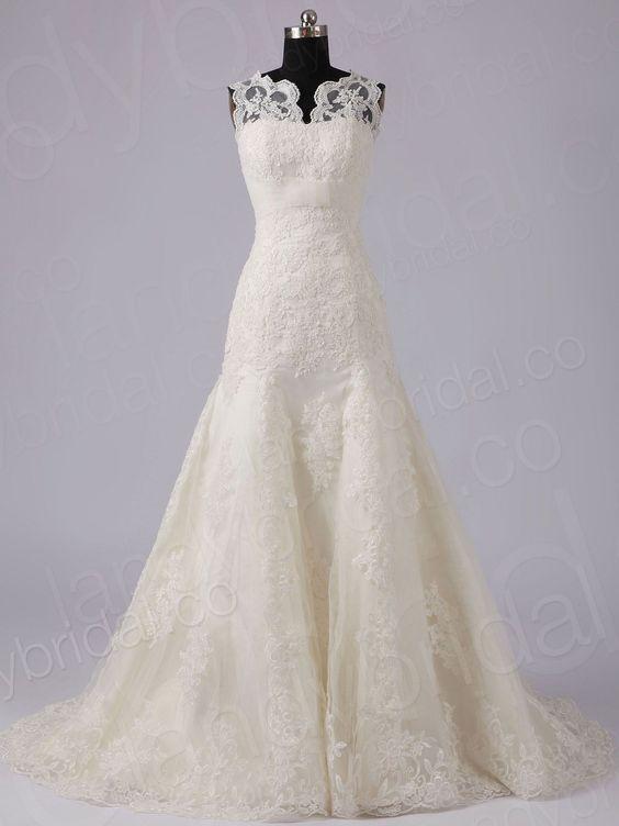 Drop waist tank top chapel train lace champagne wedding for Drop sleeve wedding dress