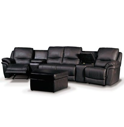 """Black leather home theater seating. Oh for home theater seating that is 1) comfortable and 2) not black and 3) works for anything other than a """"man-cave."""" I want a girly rustic home theater, dammit!"""