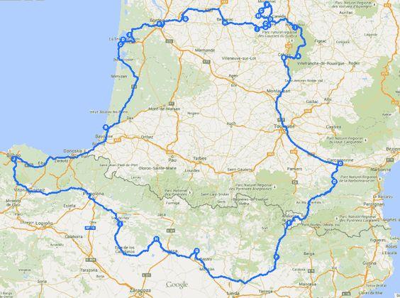"""Viaje en autocaravana por el sur de Francia con una autocaravana de alquiler.Nuestro recorrido comprenderá la zona sur de Francia, desde Aquitania empezando por Las Landas hasta la Bahía de Arcachón, atravesando Burdeos y los viñedos de Saint Émilion para penetrar en el  Perigord Pourpre de Bergerac y, el Périgord Noir de la medieval Sarlat La Canéda y el Valle del Vézere (también llamado el """"Valle del Hombre"""")."""
