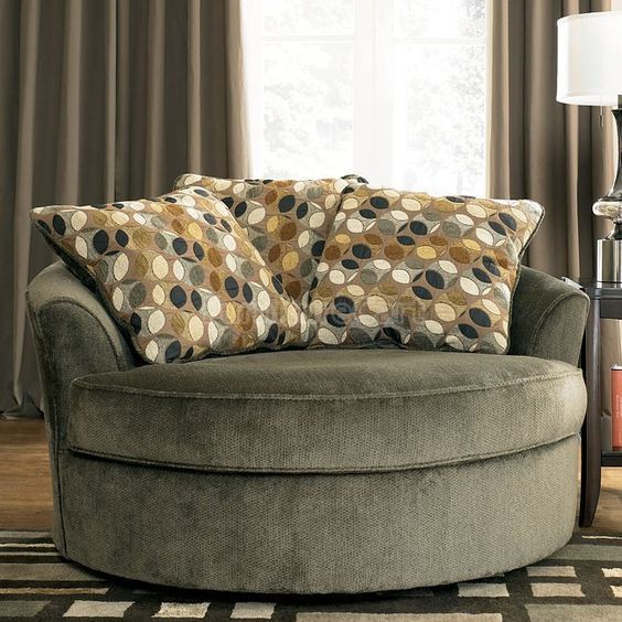 Kirkwood Charcoal Oversized Swivel Accent Chair Round Swivel