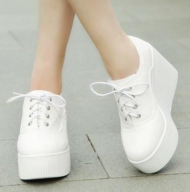 Cheap 2016 nueva primavera alpargatas de cuña plataforma de moda de ocio zapatos de lona zapatos de mujer color sólido de plataforma sneakers zapato,