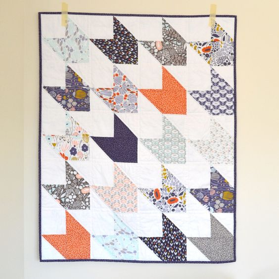 https://flic.kr/p/CSrMFT | Morning Song Arrow Quilt | Baby girl arrow quilt, fabric is Morning Song by Elizabeth Olwen for Cloud9 Fabrics, and pattern is Chevron and On: