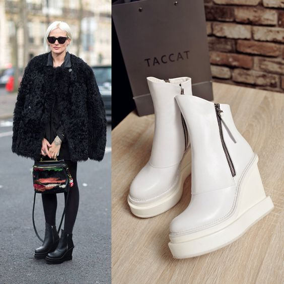 Chiko Laverna Double Zipper Platform Wedge Ankle Boots feature round toe, side zipper opening, platform wedge with rubber sole.