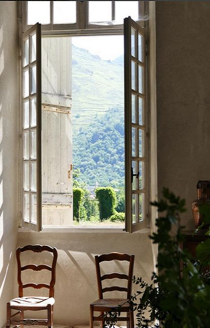 French windows overlook the countryside. South of France Fixer Upper Château Gudanes. #southoffrance #frenchchateau #provence #frenchcountry #renovation