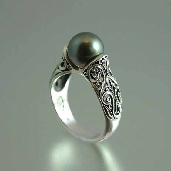 the enchanted tahitian pearl 14k white gold ring With tahitian pearl wedding rings