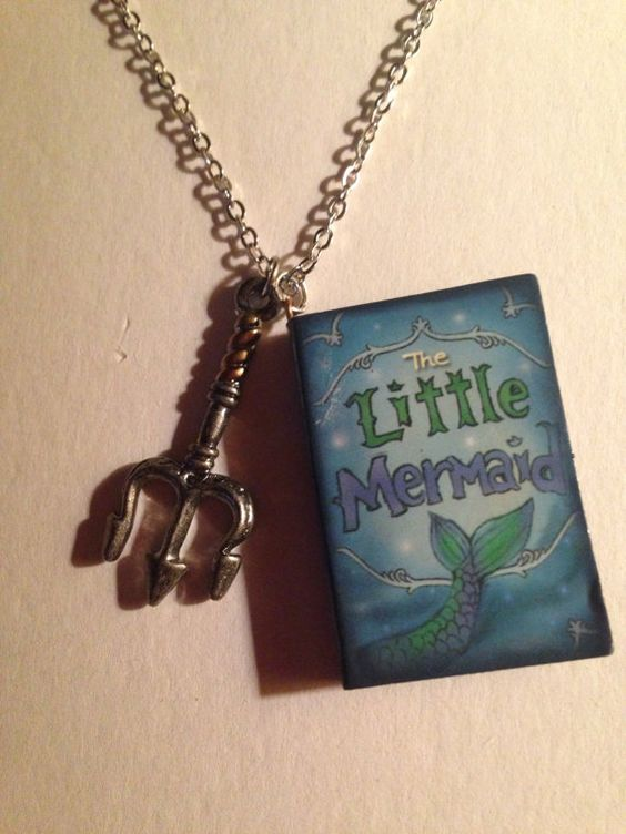 Little Mermaid Book Charm Necklace with Dinglehopper Charm on Etsy, $12.00