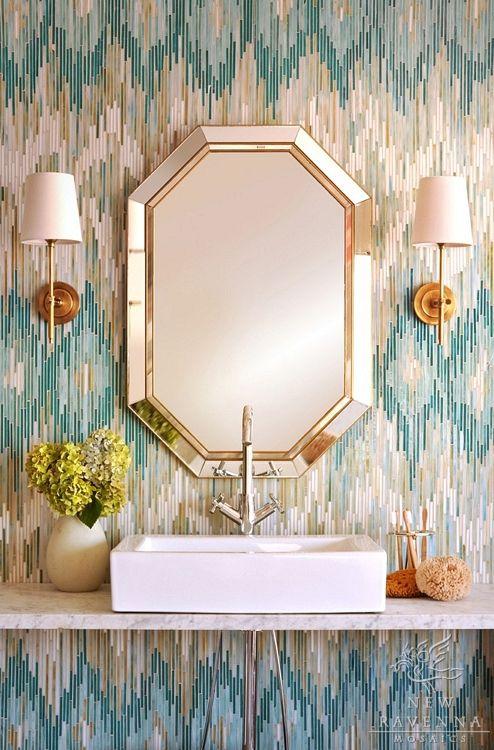 New Ravenna Mosaic Tile and Visual Comfort Bryant Sconces-- Love!