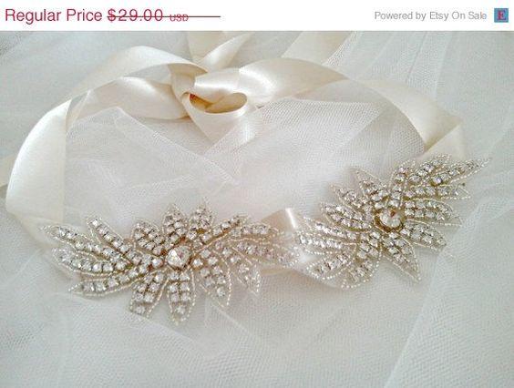 HUGE SALE 30%off Flower Crystal Rhinestone Headband, Wedding Jeweled Bride Hair Accessory Satin Ribbon Color Choices Bridal Head Piece