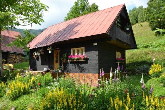 malá chaloupka a okolo plno květin  -Czech