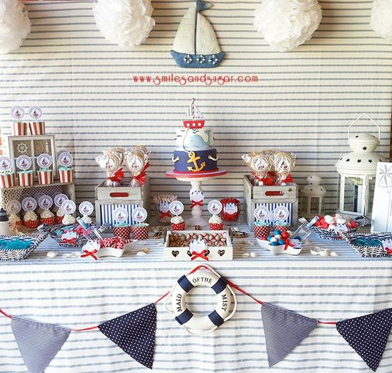 Mesa dulce marinera - sweet table -candy bar Valladolid - repostería creativa Valladolid