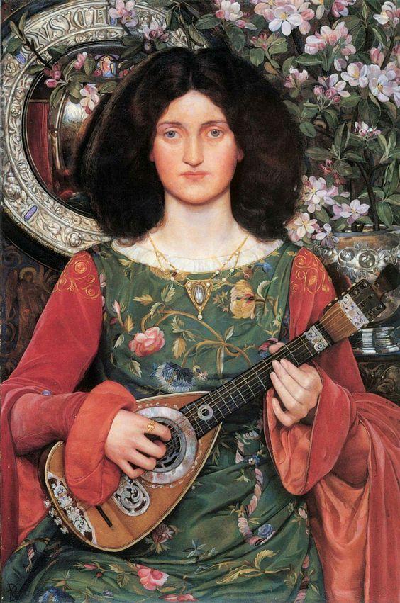 Kate Elizabeth Bunce (British painter) 1856 - 1927 Melody (Musica), 1895-97 oil on canvas 76.3 x 50.9 cm. Birmingham Museum and Art Gallery, Birmingham, England: