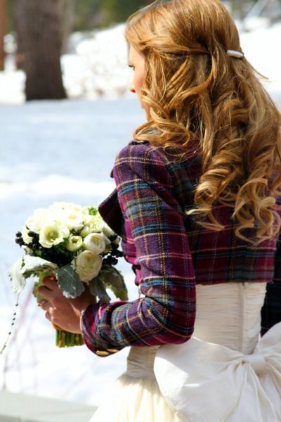 """I love the bright plaid, long sleeved """"bolero"""" over the strapless dress.  Must remember this for the next time I have to wear a strapless formal in winter."""