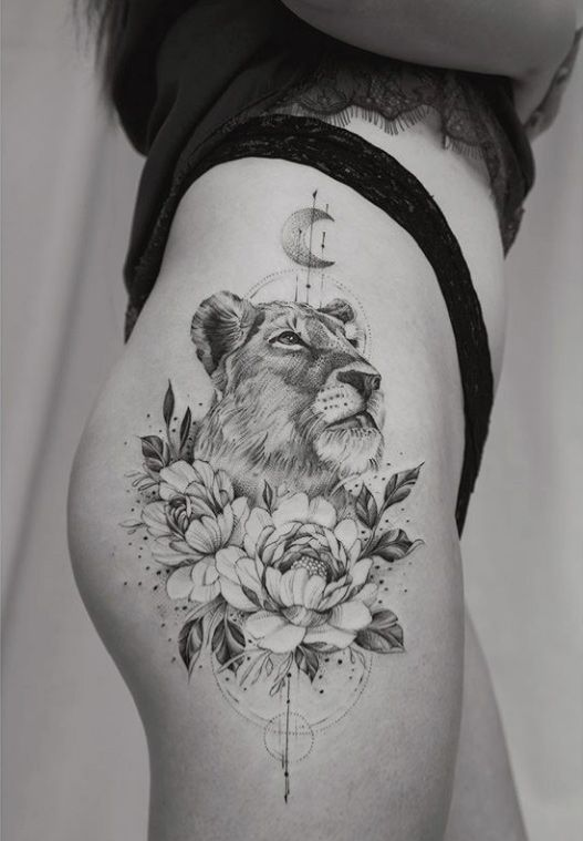 Meaningful Lioness Thigh Tattoos For Females