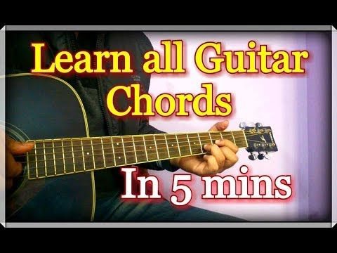 Learn All Guitar Chords In 5 Minutes Hindi Explanation Youtube All Guitar Chords Guitar Chords Blues Guitar Lessons
