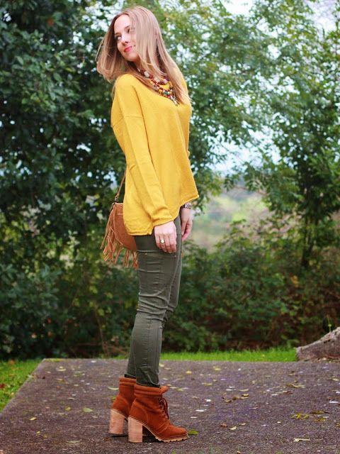 pantalon verde y mostaza