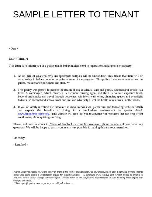 sample letter to tenants google search sawgrass