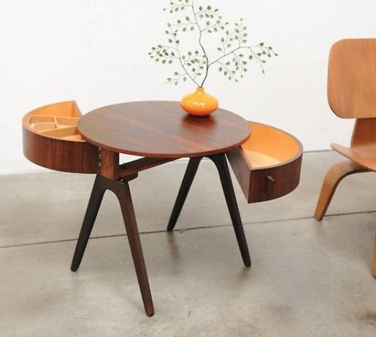 Stylish Mid-Century Coffee Table Design in Fascinating Various Models: Creative Design Mid Century Modern Coffee Table With Under Table Storage Formed A Round Shape Decor With Fancy Floral Vase ~ plaintec.net Furniture Design Inspiration