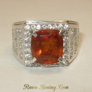 Cincin Pria Silver Ring 9.5US Plus Garnet Orange 4.00 carat