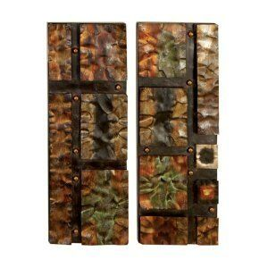 """Metal Wall Art Hammered Multi Color Abstract Set of 2 Each 28""""h, 10""""w by bombayjewel. $73.00. Abstract Set of 2 Each 28""""h, 10""""w. Ready to Hang. Metal Wall Art Hammered. Best of Bombay Jewel. Metal Wall Art Hammered Multi Color Abstract Set of 2 Each 28""""h, 10""""w"""