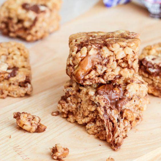 Gooey Snickers Rice Krispie Treats