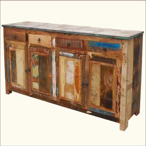 Distressed Buffet Sideboard Weathered Rustic Reclaimed Wood 73 ...