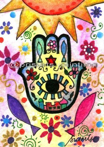JUDAICA Sun HAMSA EYE Protection Painting ACEO Abstract ORIGINAL Art PRISARTS