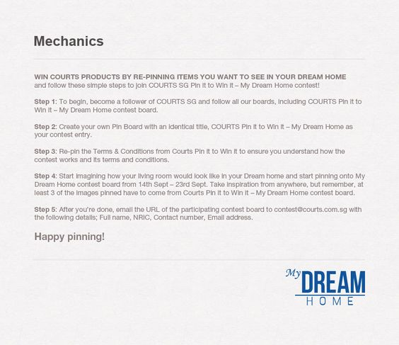 Read the Mechanics to find out how to enter Courts #MyDreamHome contest!