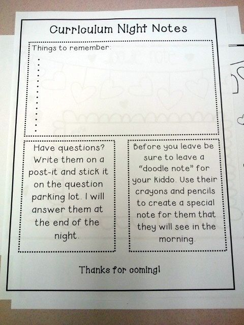 Curriculum Night...good Idea (note Taking For Parents)