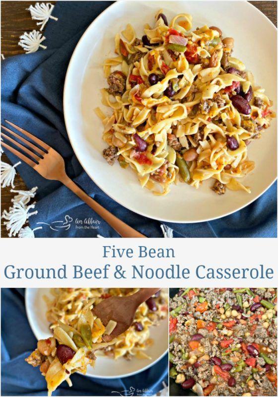 Five Bean Ground Beef Noodle Skillet Casserole Recipe Beef Noodles Beef Casserole Recipes Ground Beef