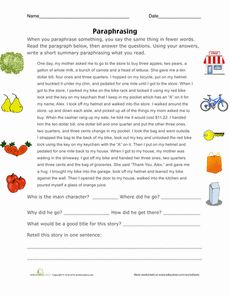 Printables Paraphrase Worksheet home keys and worksheets on pinterest paraphrasing practice worksheet
