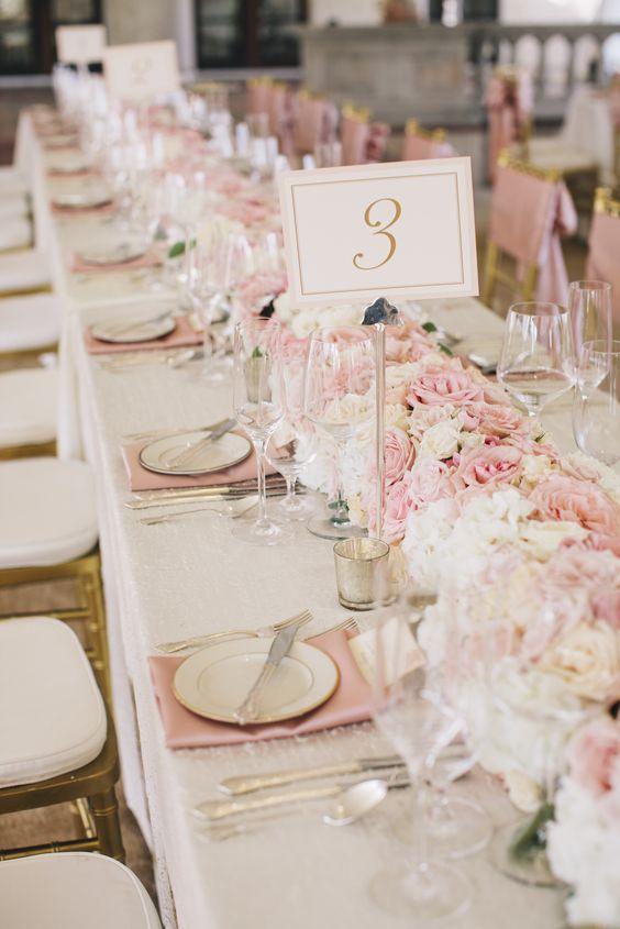 dcoration de table de mariage rose et blanche - Rose Et Blanche