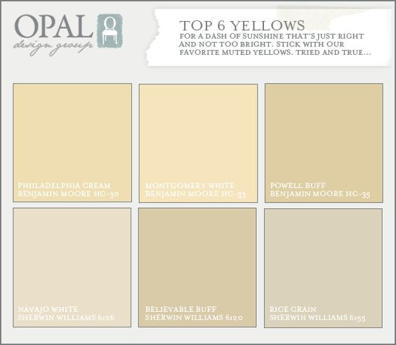top 6 yellow colors of paint. Not too bright