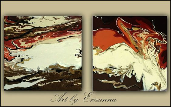 """Original Paintings, Abstract painting, Fluid Painting, Set of 2 Acrylic painting, contemporary, 20""""x40"""" Ready to Hang"""