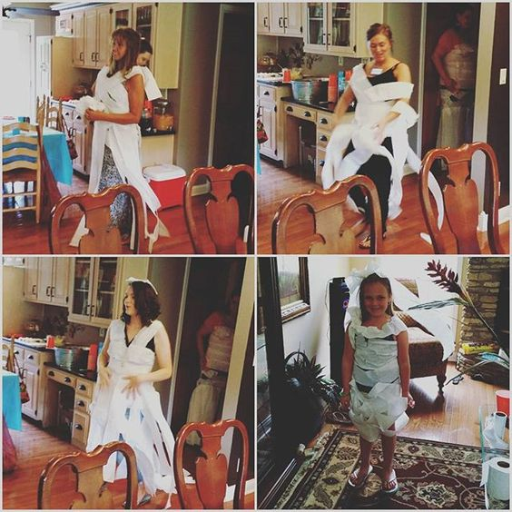 People are super creative!! #bridalshower #toiletpaperdresses: