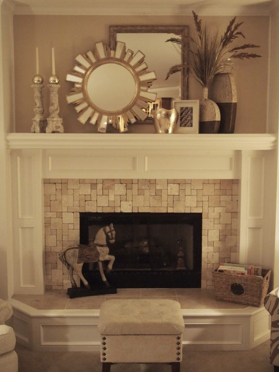 Fireplaces wood mantle and travertine on pinterest - Fireplace hearth stone ideas ...