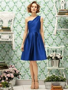 Lela Rose Style LR191  Cocktail length one shoulder gazar dress with pleated full skirt and pockets at side seams. View