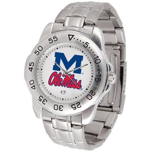 """Mississippi Rebels NCAA """"Sport"""" Mens Watch (Metal Band) by SunTime. $53.10. Calendar Date Function. Scratch Resistant Face. Rotation Bezel/Timer. This handsome, eye-catching watch comes with a stainless steel link bracelet. A date calendar function plus a rotating bezel/timer circles the scratch resistant crystal. Sport the bold, colorful, high quality logo with pride."""