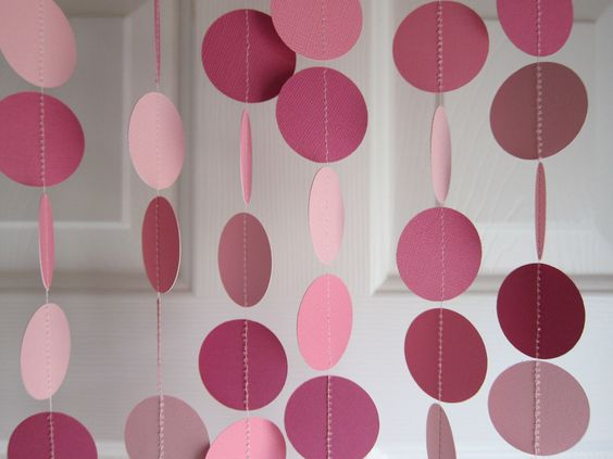 Paper Garland, 1st Birthday Party, Baby Shower Decorations, Pink Garland, Fairytale Party. $10.00, via Etsy.