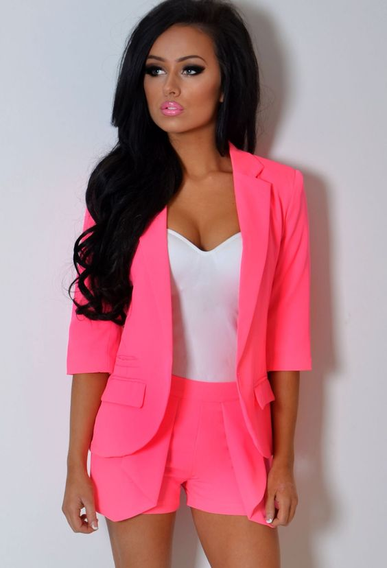 We love this HOT PINK two piece! Dress to impress in this blazer and skort!   Shop now www.pinkboutique.co.uk/calypso-neon-pink-3-4-sleeve-fitted-blazer-jacket.html