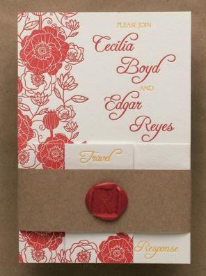 Picado letterpress printed wedding invitations by Tweedle Press